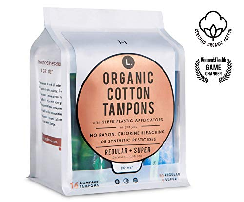 L. Organic Cotton Tampons with BPA-Free Applicators, Regular + Super Absorbency 48 Count ()