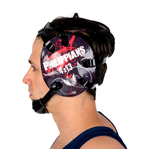 4-Time All American Wrestling Headgear for Men, Women, and Youth, MMA, Sparring, Boxing, and Wrestling Mat Ear Wrap Gear/Supplies, Exercise Equipment (Philippians 4:13 - Red) ()