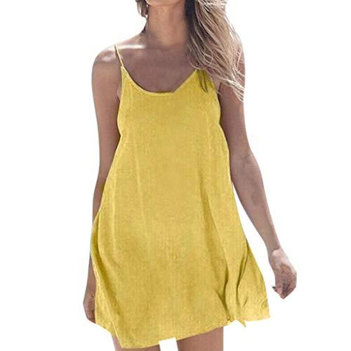 Lovor Women Solid Sleeveless O-Neck Casual Loose Beach Mini Dress Camisole Beach Flowy Off The Shoulder Tank Dress (Yellow,XL)