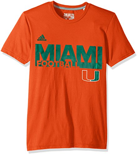 Adidas Soccer Short Sleeve Tee - adidas NCAA Miami Hurricanes Men's Football Go-to Performance Short Sleeve Tee, Large, Collegiate Orange