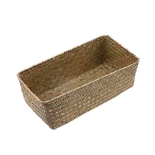 (Weaving Storage Basket Rattan Fruit Storage Box Handmade Tea Holder Seagrass Picnic Basket Wickerwork Cosmetics Organizer,Nature Color,L)