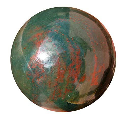 Healing Bloodstone Crystal Sphere - Natural Blood Stone Aura Cleansing Gemstone Reiki Ball for Women & Men - Authentic Heliotrope Bloodstones Crystals for Positive Energy, Meditation & Yoga - -
