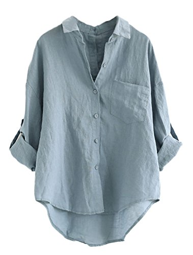 Minibee Women's Linen Blouse High Low Shirt Roll-Up Sleeve Tops Blue XL