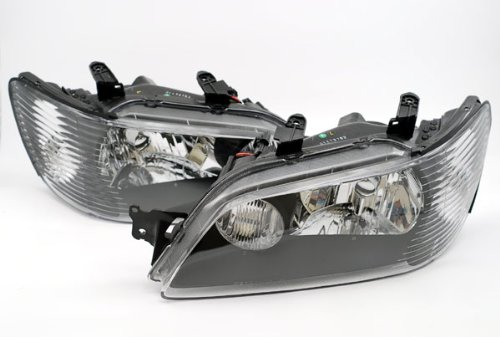 (Depo 314-1128P-US2 Mitsubishi Lancer Headlight Unit Set with Black Bezel )