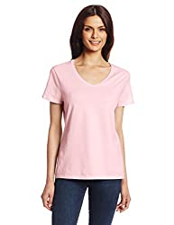 Hanes Women's Nano Premium Cotton V-Neck Tee, Pale Pink, Small