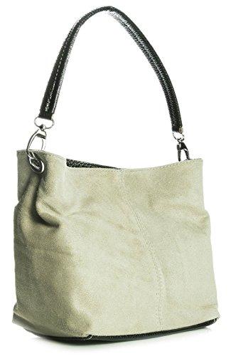 Slouch Womens Handbag - Big Handbag Shop Womens Mini Real Italian Suede Leather Single Strap Hobo Slouch Bag (Light Taupe)