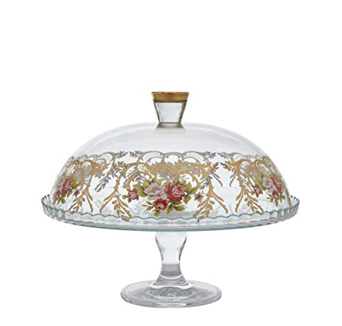 Glazze Crystal Luxury Glass Cake Dome with Real 24K Gold/floral Detailing (24k Plate Crystal Gold)