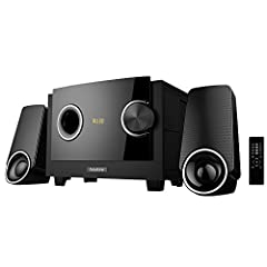 """Get serious sounds with 2200W PMPO output for music, movies and games!!* Output power: 8W+3W*2(RMS)* Subwoofer: 4""""""""60Ω 20W + Satellite 3""""""""4Ω 10W*2* Frequency response: 40Hz-20KHz* Separation: ≧45dB* Distortion: ≦0.3%* S/N: &..."""