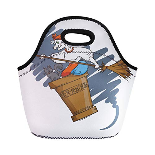 Semtomn Lunch Tote Bag Baba Yaga Flying in Mortar Cat and Broomstick the Reusable Neoprene Insulated Thermal Outdoor Picnic Lunchbox for Men Women]()
