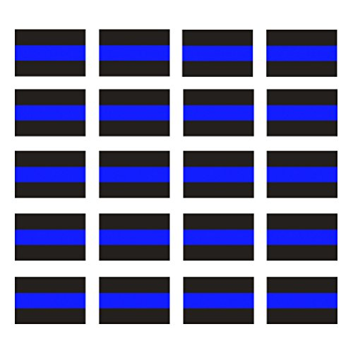 Cops Sticker - Creatrill Reflective Blue Lives Matter License Plate Sticker - Pack of 20 Vinyl Decal - Cop Thin Blue Line Decals - Proudly Support Police/Law Enforcement Officers (1