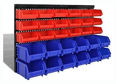 PROGLEAM Tool Cabinet & Chest, Wall Mounted Garage Plastic Storage Bin Set 30 pcs Blue & Red