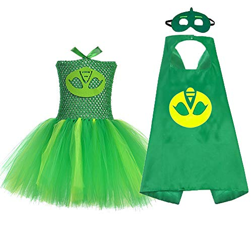Halloween Superhero Costume for Little Girls Party Role Play Hero Tutu Costume Set (Green, Large)]()