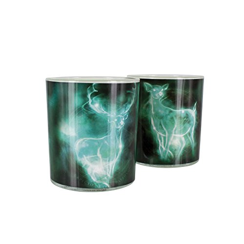 Harry Potter Patronus Drinking Glasses - Set of 2 Printed Glass Tumblers with Hogwarts Crest and Deathly Hallows Logo