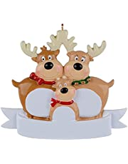 Personalized Reindeer Family of 2, 3, 4, 5, 6 & 7 Christmas Tree Ornament 2021 - Cute Deer Holiday Winter Gift Year Durable 2021 Family Ornament