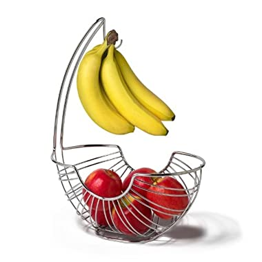 Spectrum Diversified Pantry Works Ellipse Fruit Stand and Banana Holder, Chrome