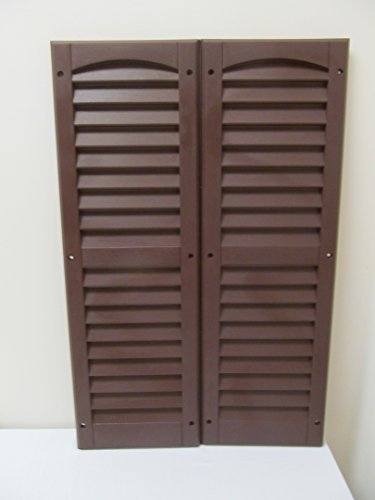 Review Louvered Shed Shutter or Playhouse Shutter, Brown 9″ X 27″, 1 Pair