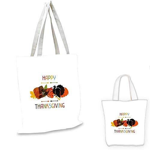 - Turkey canvas laptop bag Bird Pumpkin Traveller`s Hat Silhouette with Celebratory Thanksgiving Illustration fruit shopping bag Multicolor. 12