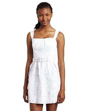 Xoxo Juniors Dress With Belt and Soutache, White, 5