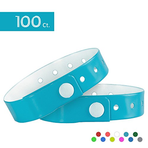 Ouchan Dark Turquoise Plastic Wristbands - 100 Pack Wristbands For Events Club Music Meeting Party Festival