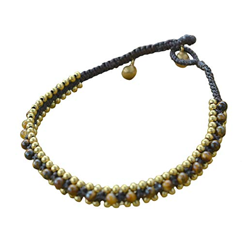 Thai Silver Gemstone Bracelet - Ploy! Tiger Eye Stone Beads Brass Anklet Waxed Cotton Cord Bohemian Adjustable Size Handmade Gift AK1