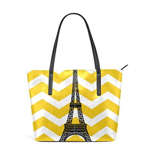 Jaune Et Bourse À tout Muticolour En Main Bandoulière Fond Pour Les Coosun Sac Eiffel Tour Sur Sacs Cuir Fourre Moyen Femmes Pu n47gYqIW