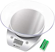 Etekcity Food Kitchen Scales Digital Weight Grams and Oz for Cooking and Baking, Removable Bowl, Stainless Steel, Silver