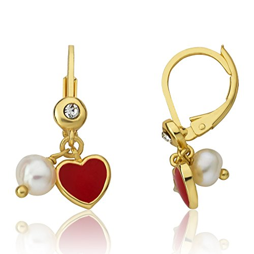LMTS I LOVE My Jewels 14K Gold Plated Red Enamel Heart Leverback Earring Accented With Fresh Water Pearl Dangle/Brass