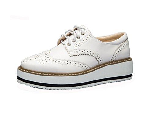 LAIKAJINDUN Womens Wing Tip Derby Shoe Lace Up Platform Brogue Work Shoe White EHJsvdb