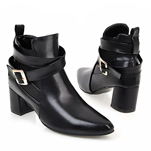 RAZAMAZA Women Fashion Bootie Slip-On Monk-Strap Black aHKtNY5R