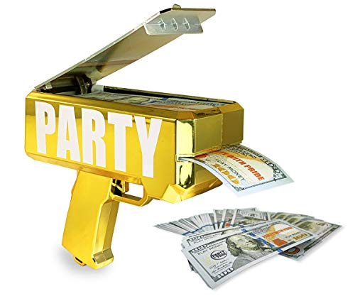 Party With Pride Money Gun, Real Electroplated Chrome Gold, Rainmaker Handheld Cash Gun, Fake Bill Dispenser, Money Shooter (Metallic Gold) -