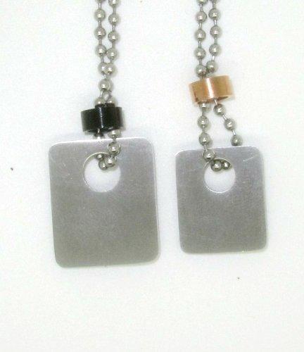 Meine glitzerwelt duo de pendentifs pour couple en acier inoxydable avec chaîne en argent et or rose chip carte son partnerschaftsketten de couple