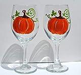 Orange Pumpkin (Set of 2) Hand Painted Stemmed Wine Glasses Fall Home Decor