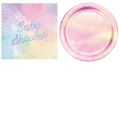 Olive Occasions Baby Shower Disposable Paper Party Supplies Serves 16 Iridescent Cake Plates and Baby Shower Lunch Napkins