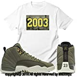 Custom T Shirt Matching Air Jordan 12 CP3 Olive Canvas Class 2003 JD 12-6-1-WHITE-S