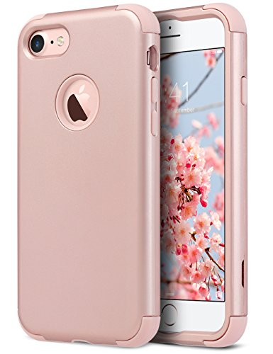 iPhone 7 Case, ULAK Heavy Duty Protection Shockproof Hybrid Soft Rubber & Silicone Dual Layer Protective Anti-slip Cover for Apple iPhone 7 4.7 Inch, Rose Gold (Plastic Tpu Skin)