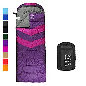 Sleeping Bag - Sleeping Bag for Indoor & Outdoor Use - Great for Kids, Boys, Girls, Teens & Adults. Ultralight and Compact Bags for Sleepover, Backpacking & Camping (Purple / Fuchsia Right Zipper)