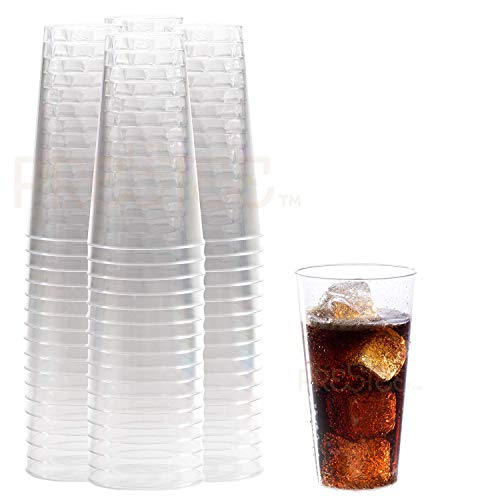 Plastic Drinking Glasses | Heavy Duty Clear Plastic Cups | Disposable Glasses | 16 oz Pint Cups - 100 Pack | Old Fashioned Tumbler Party Cups | ideal for Cocktails, Wine, Champagne, Juice. [Drinket Co]()