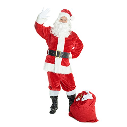 Mens Christmas Santa North Pole Costume - 6 Piece Quality Costume