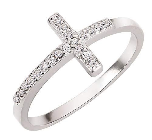 CloseoutWarehouse Cubic Zirconia Saint John Sideway Cross Ring Sterling Silver Size 5 ()