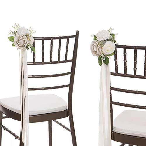Ling's moment Set of 8 Ivory Floral Aisle Decoration Wedding Pew Bows Reception Chair Back Rose Flower Decor ()