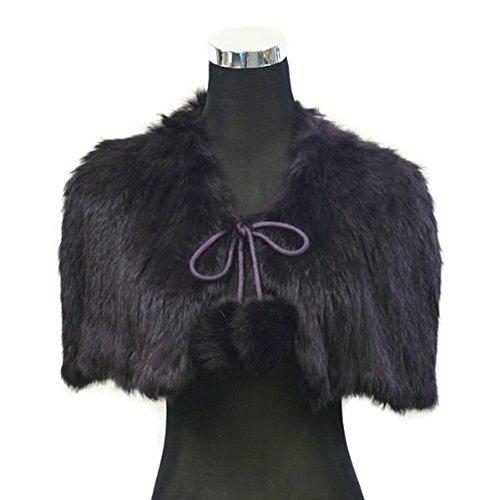 Angora/Rabbit Fur Bridal Wedding Shawl Shrug Scarf Wrap Cape- Black
