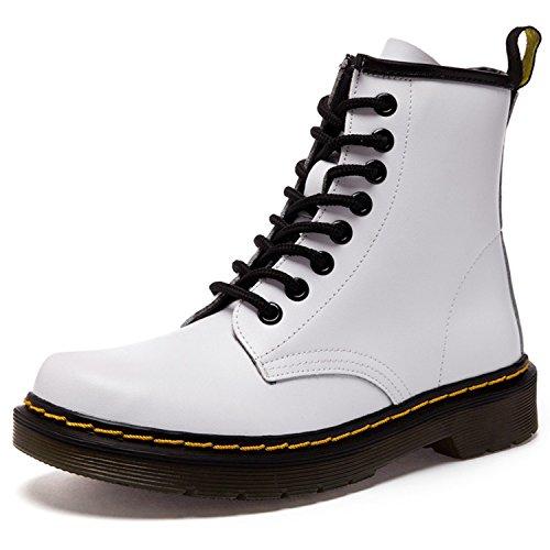 Damen Martin Stiefel Derby Wasserdicht Kurz Stiefeletten Winter Herren Worker Boots Profilsohle Schnürschuhe Schlupfstiefel,Ungefüttert/Grau 40 EU