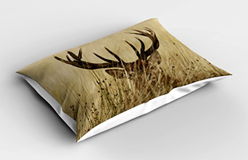 Lunarable Antler Pillow Sham, Whitetail Deer Fawn in Wilderness Stag in Countryside Rural Hunting Theme, Decorative Standard King Size Printed Pillowcase, 36 X 20 inches, Brown Sand Brown by Lunarable (Image #1)