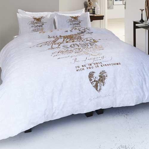 Bettwäsche New Love Gold 100 Baumwolle 80x80135x200cm Amazonde