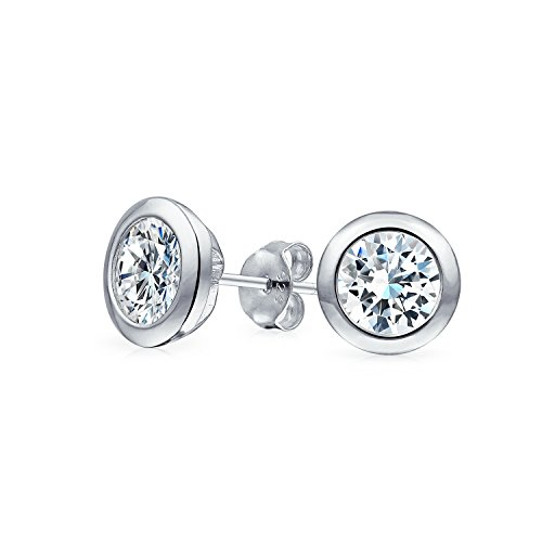 Minimalist 1CT Brilliant Cut Bezel Round Solitaire Cubic Zirconia CZ Martini Stud Earrings For Women Sterling Silver