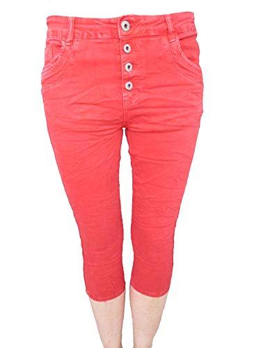 Mujer Jewelly Pantalón Bermudas Capri Botones Cremallera Rojo De By Stretch Krempel Shorts Cierre Holgado Lexxury Front Novio ZE1FZwrq
