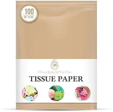 """Desert Tan Gift Wrapping Tissue Paper for Gift Packaging, Floral, Birthday, Christmas, Halloween, DIY Crafts and More 15"""" X 20"""" 100 Sheets"""