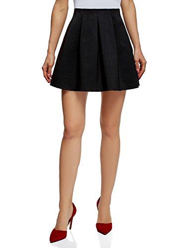 oodji Ultra Femme Mini-Jupe  Plis Doux Noir (2900n)
