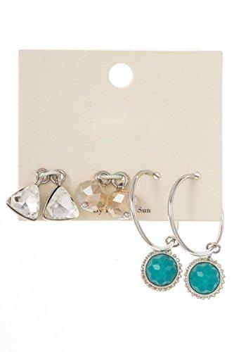 GlitZ Finery Interchangeable Mix Shape Dangle Gem stone Pendant Hoop Earring (Rhodium/Turquoise)