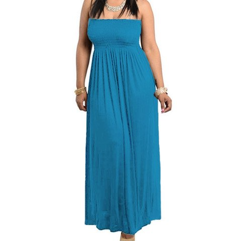Red Dot Boutique 8511 - Smocked Chest Strapless Tube Long Maxi Beach Cover-up Dress (3X, Teal Blue) - Beach Dot